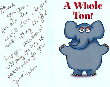 Thank you card from a customer in Lakehills, Texas