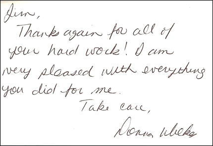 Thank you card from a customer in Tarpley, Texas